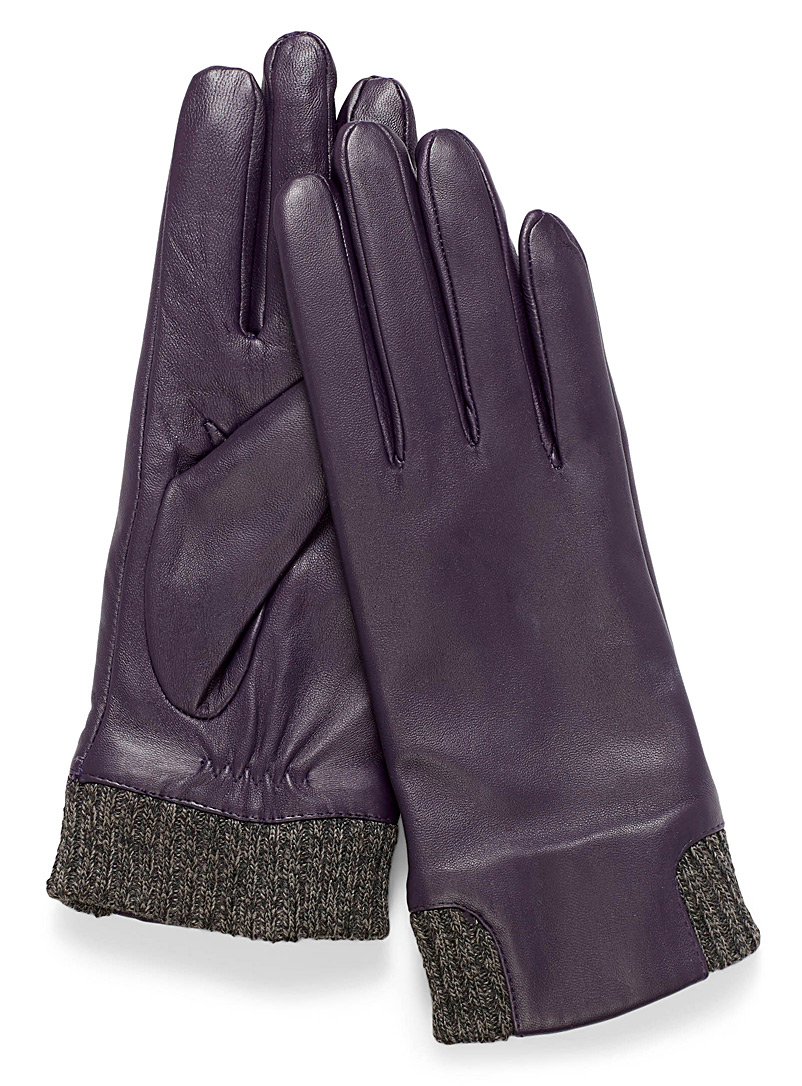 Knit insert leather gloves - Leather & Suede - Medium Crimson