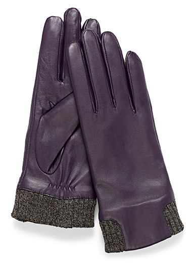 Knit insert leather gloves