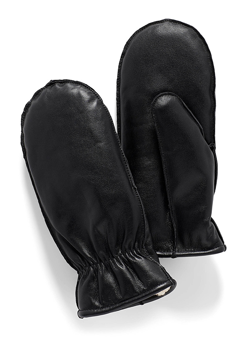 Simons Black Sherpa-lined leather mittens for women