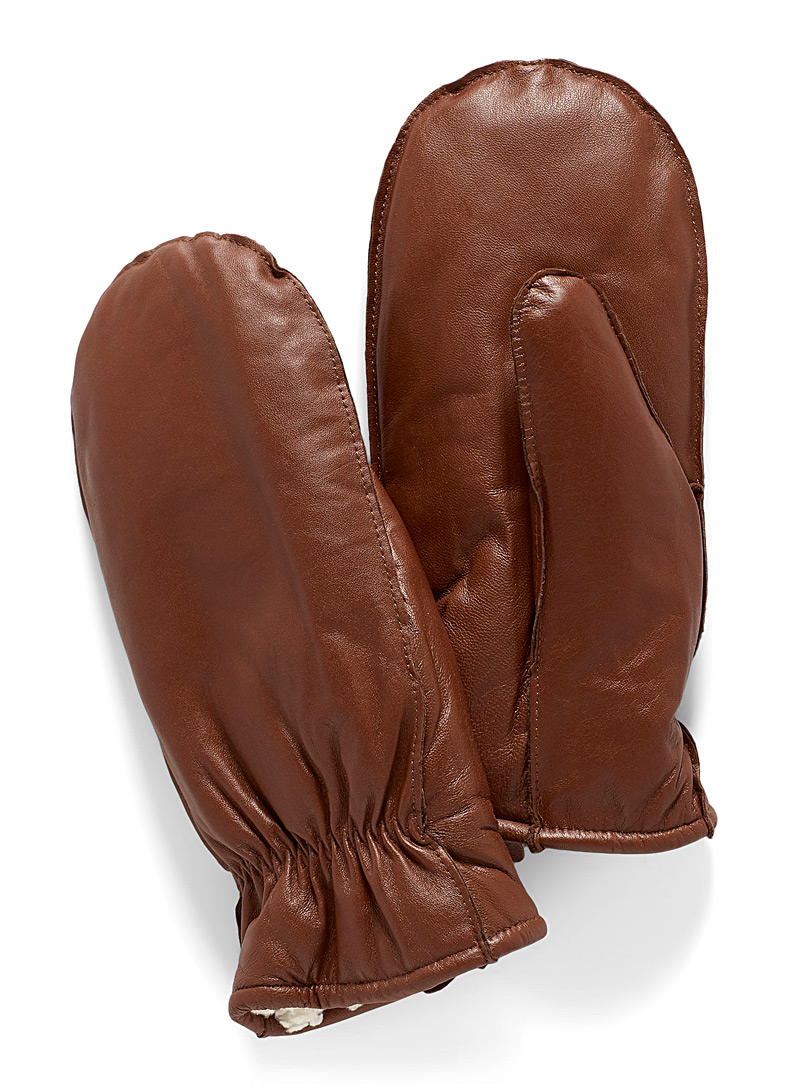 Sherpa-lined leather mittens - Leather & Suede - Medium Brown