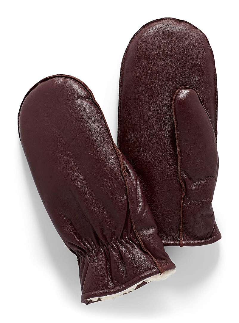 Sherpa-lined leather mittens - Leather & Suede - Ruby Red