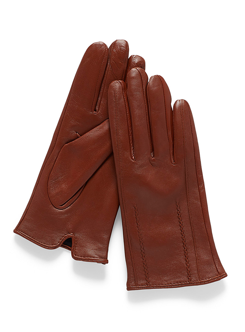 Zigzag leather gloves - Leather & Suede - Medium Brown