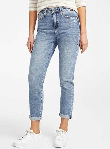 Mavi Jeans Slate Blue Distressed Cindy mom jean for women