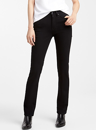 Black Kendra straight high-rise jean