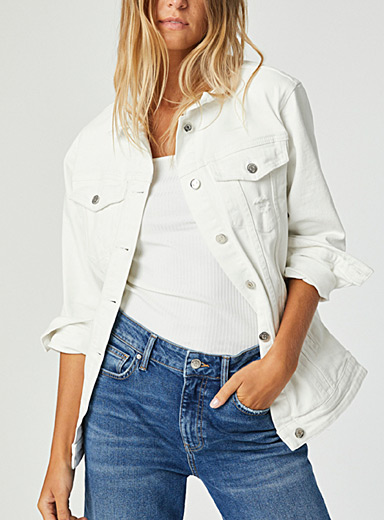 Distressed white Jill denim jacket