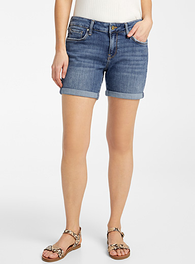 Mavi Jeans Slate Blue Faded Pixie rolled short for women