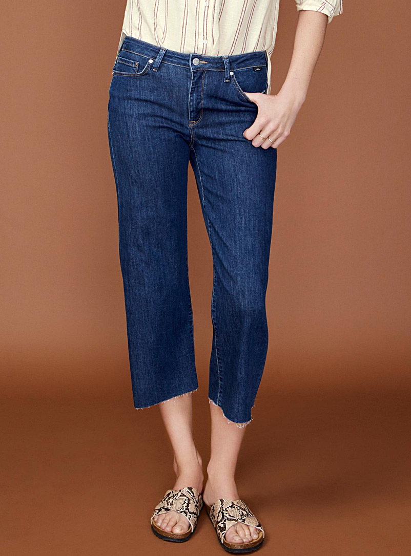 Romee cropped wide-leg high-rise jean - High Rise - Dark Blue