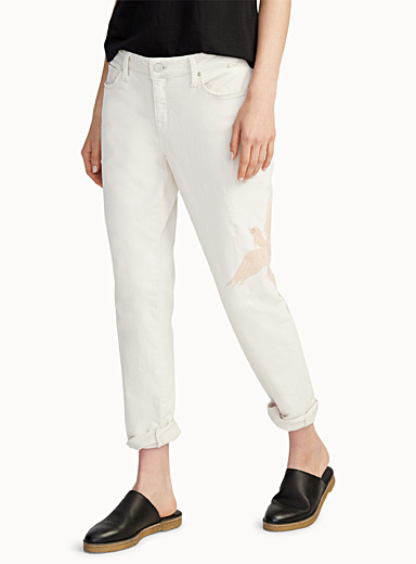 Embroidered exotic pastel bird jean