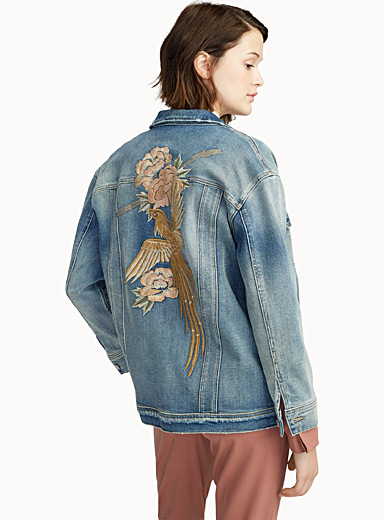 Exotic bird embroidered jean jacket