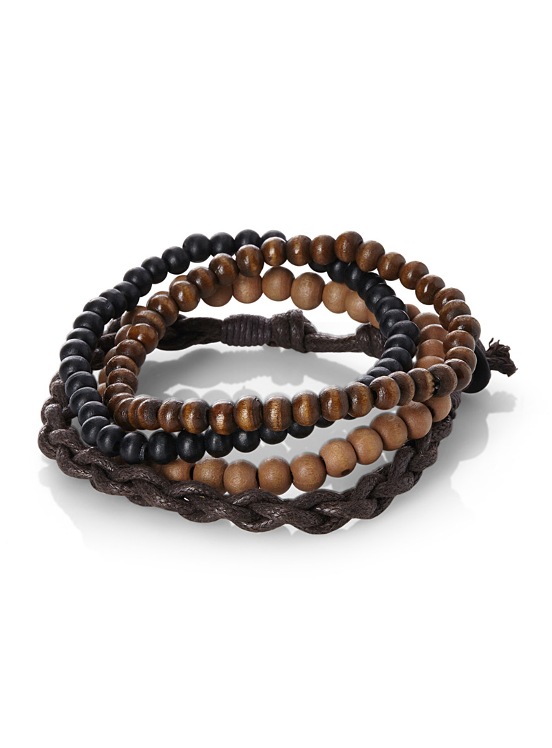 Le 31 Patterned Brown Beads and knots bracelets Set of 4 for men