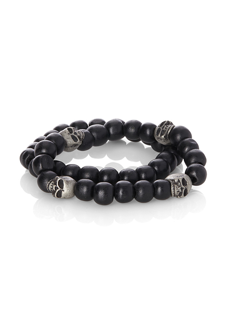 Worn metal skull bracelets  Set of 2 - Jewellery - Black