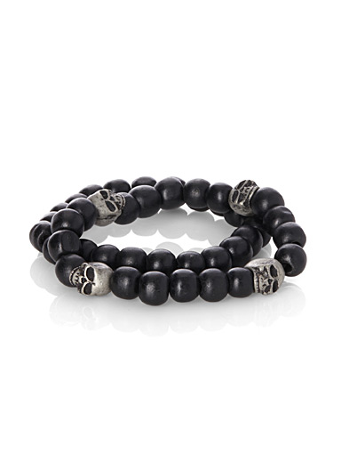 Worn metal skull bracelets <br>Set of 2