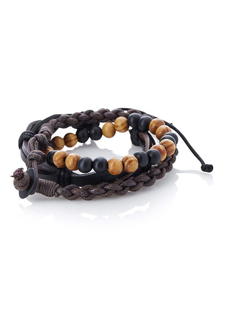 braided-faux-leather-and-bead-bracelet-trio