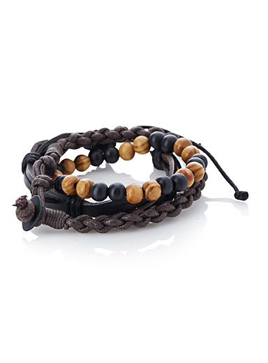 Braided faux-leather and bead bracelet trio