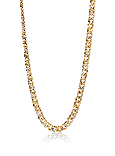 Flat link golden necklace