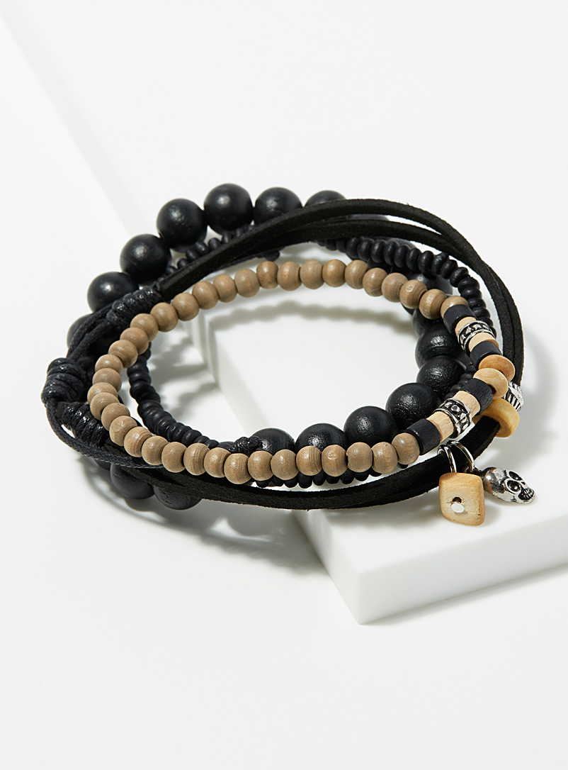 Le 31 Patterned Black Cord and bead four bracelet set for men