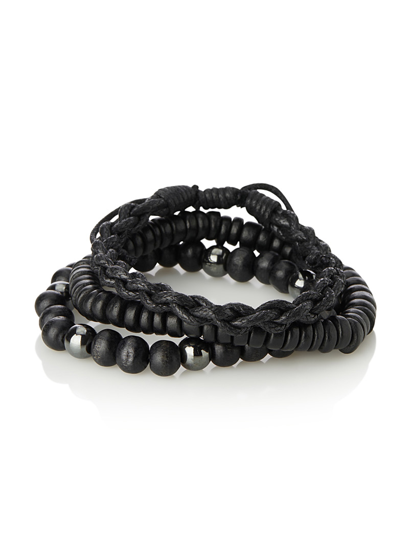 Le 31 Black Black mixed-media bracelets  Set of 3 for men