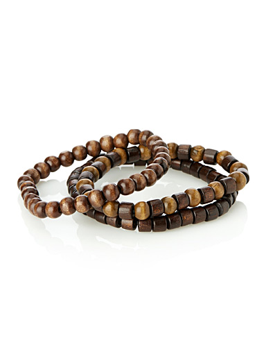 Solid wood bead bracelets  Set of 3