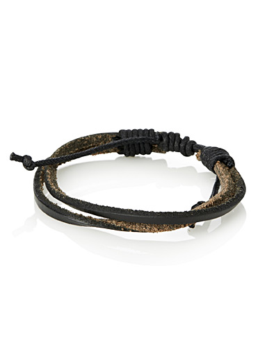 Black leather strap bracelet