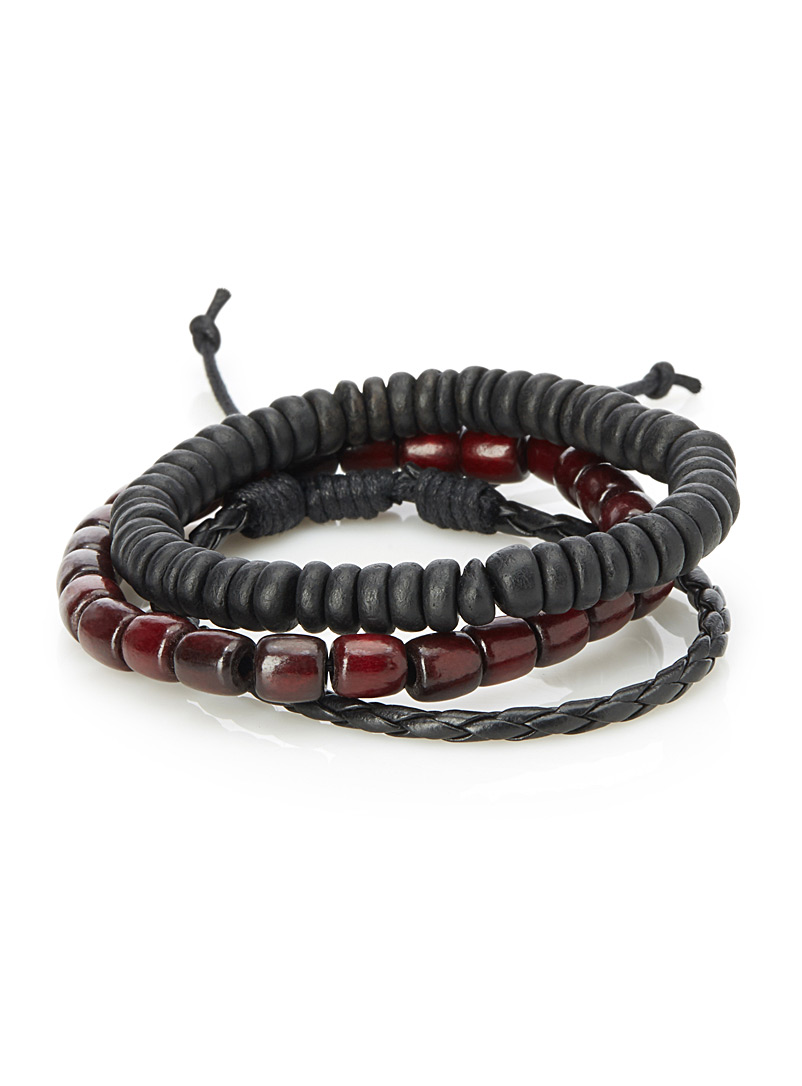Natural material bracelets  Set of 3 - Bracelets - Black