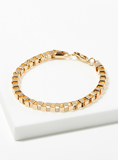 Golden square-link bracelet