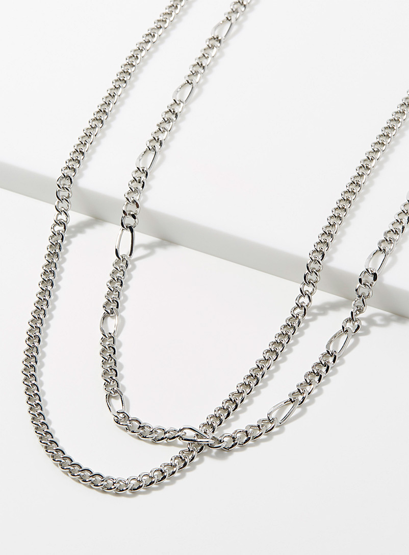 Le 31 Silver Double chain  Set of 2 for men