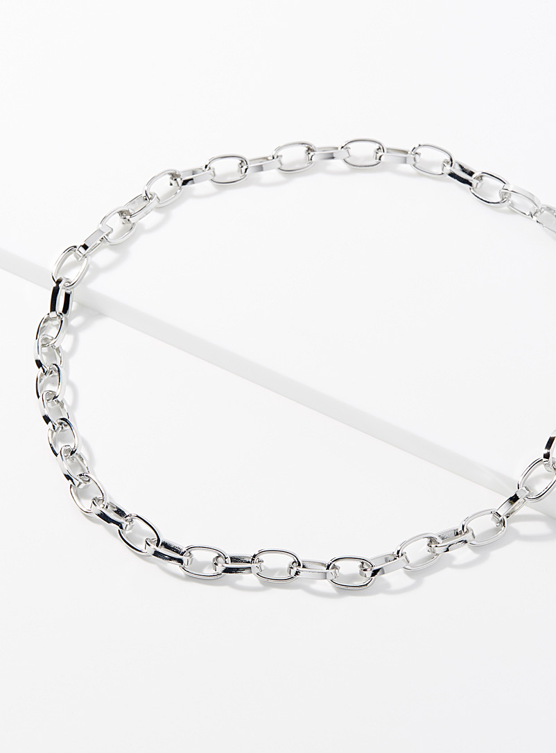 Le 31 Silver Oval link chain necklace for men