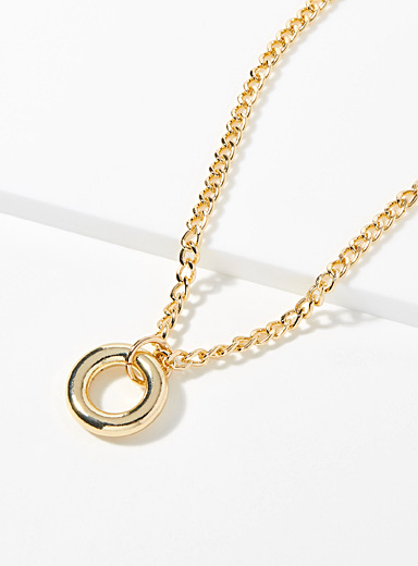 Le 31 Silver Circular pendant chain for men