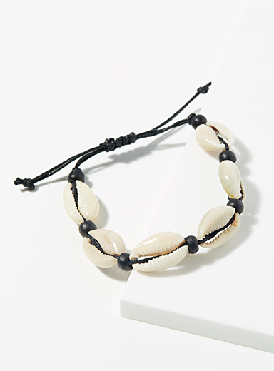 Le 31 Cream Beige Shells and beads bracelet for men