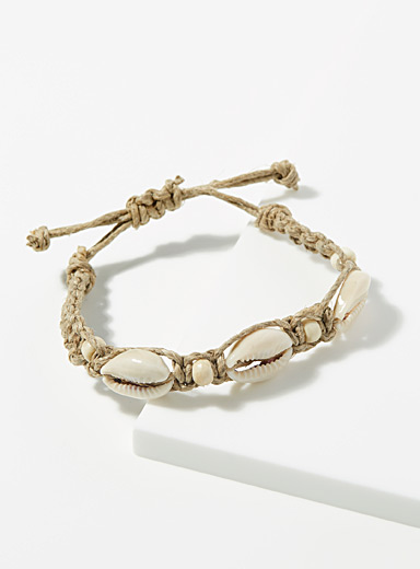 Le 31 Cream Beige Seashell bracelet for men