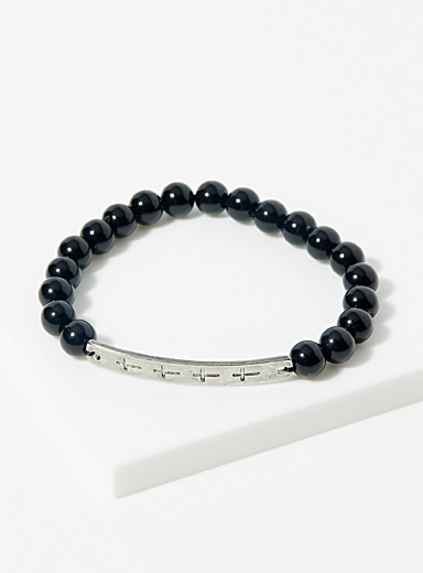 Le 31 Black Bead and plate bracelet for men