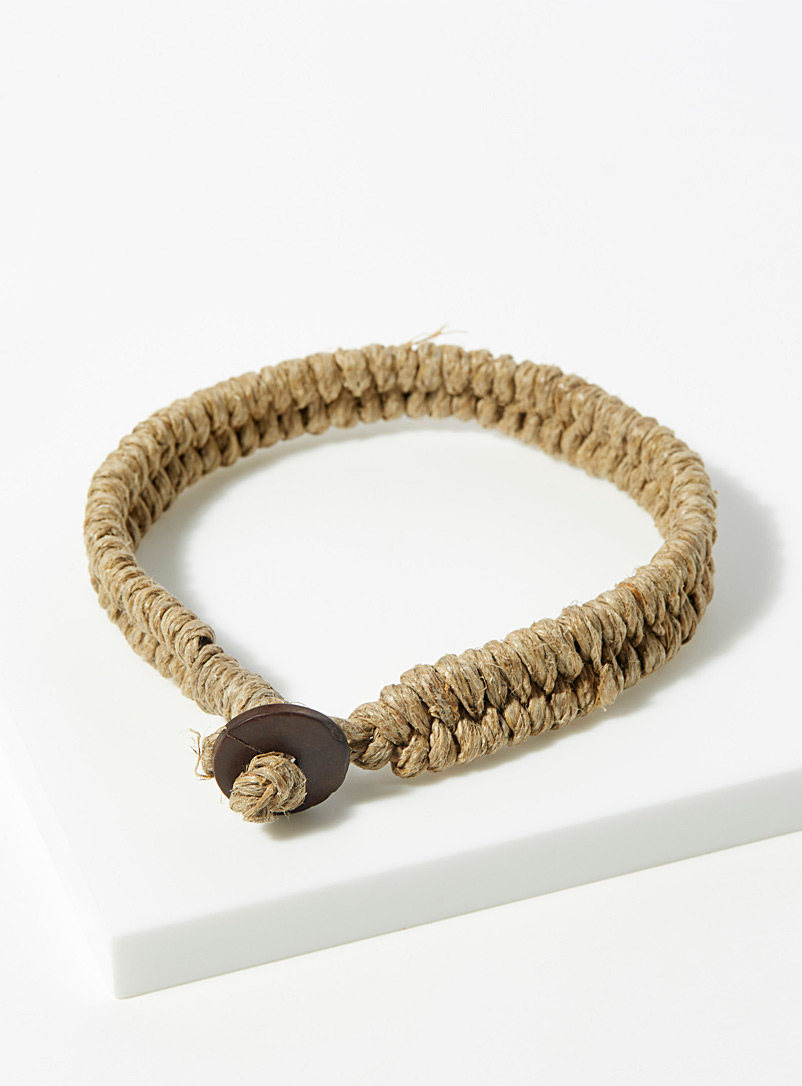 Le 31 Cream Beige Braided jute bracelet for men