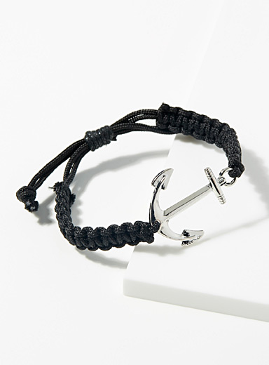 Le 31 Black Nautical anchor bracelet for men