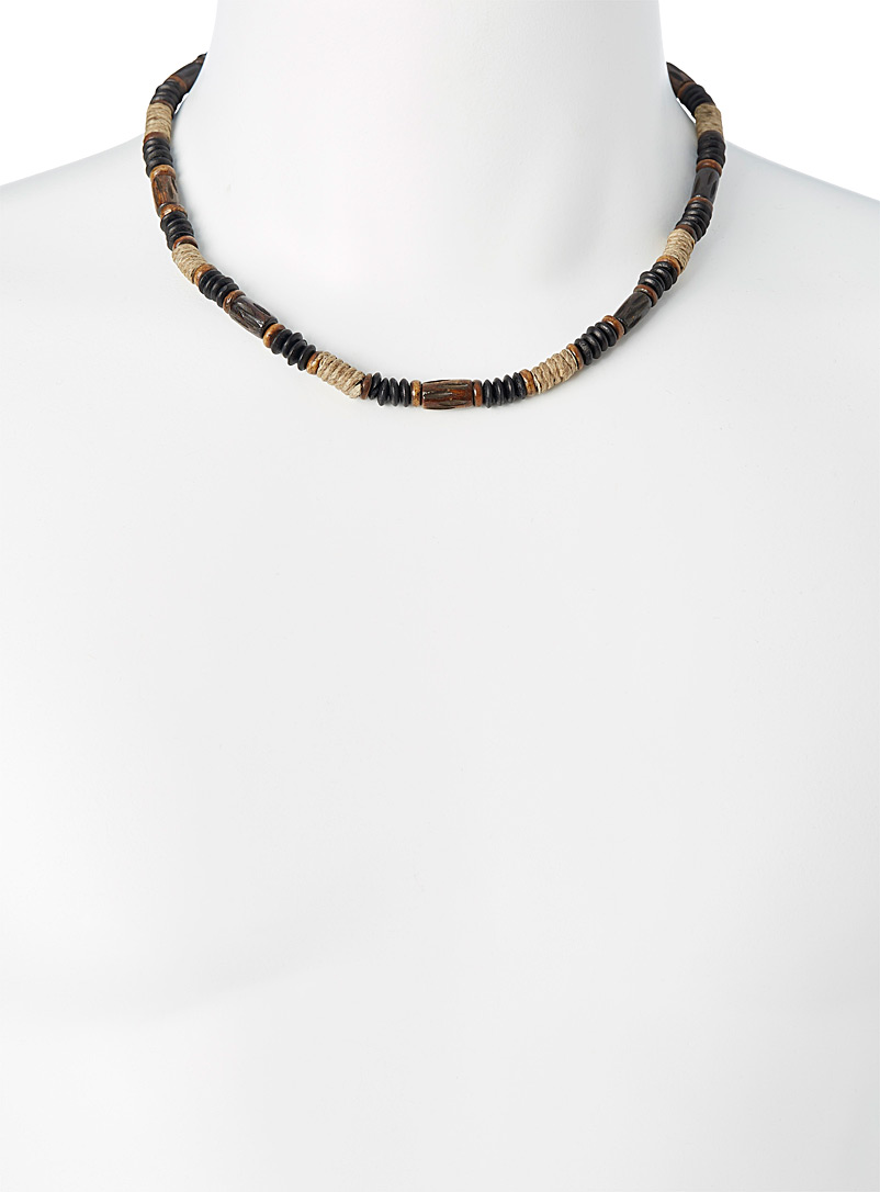 Le 31 Patterned Brown Wooden bead and jute necklace for men