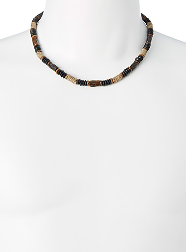 Wooden bead and jute necklace