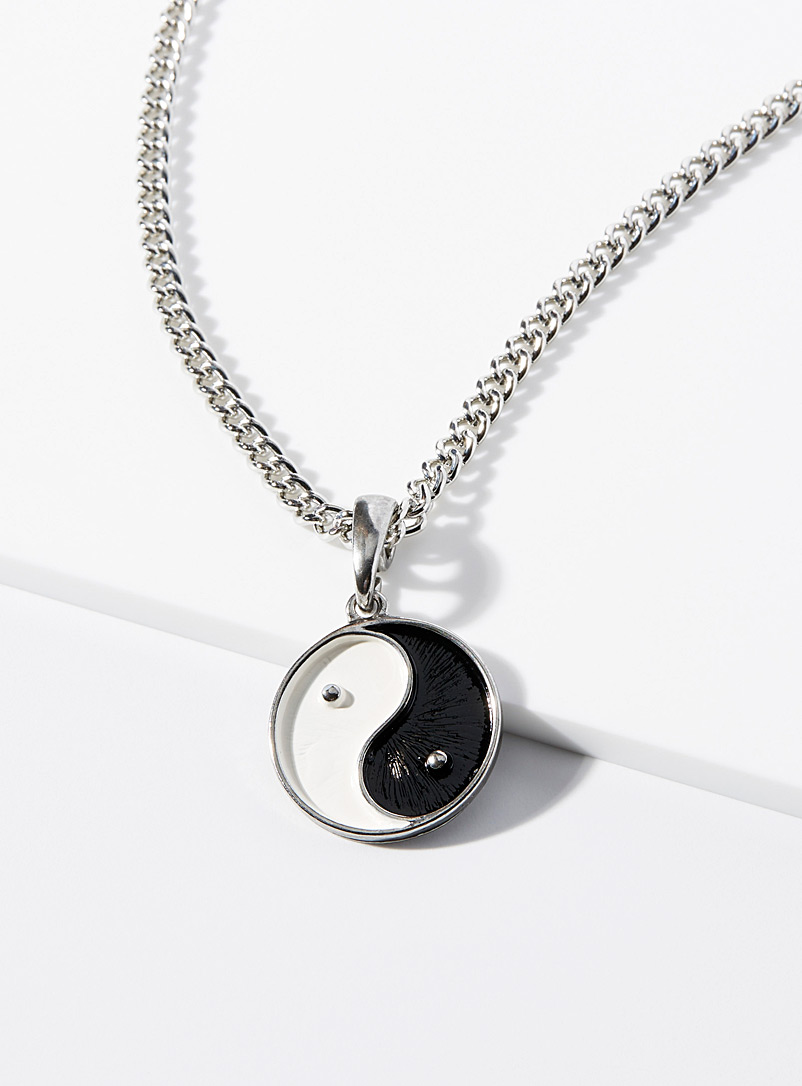 Le 31 Silver Yin and Yang pendant chain for men