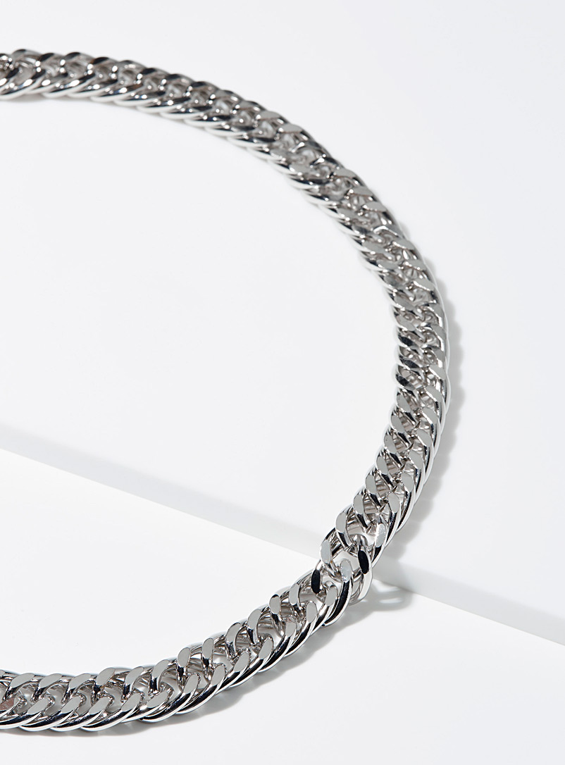 Le 31 Silver Chunky flat link chain for men