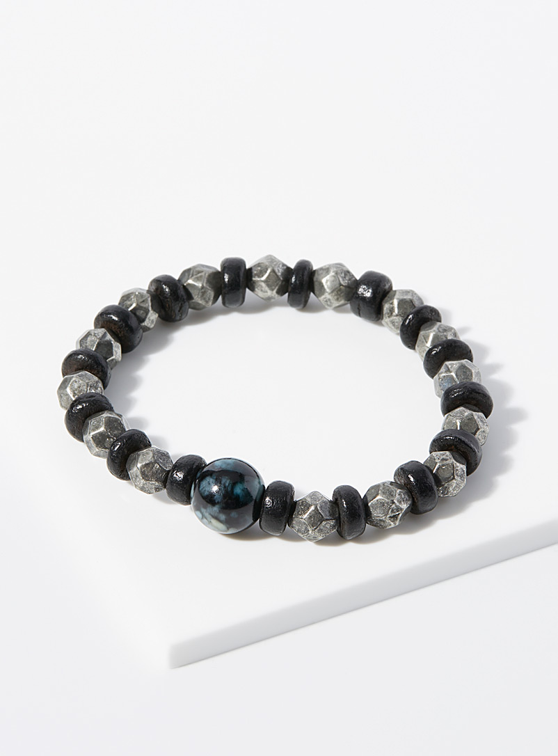 Le 31 Black and White Moonstone bracelet for men