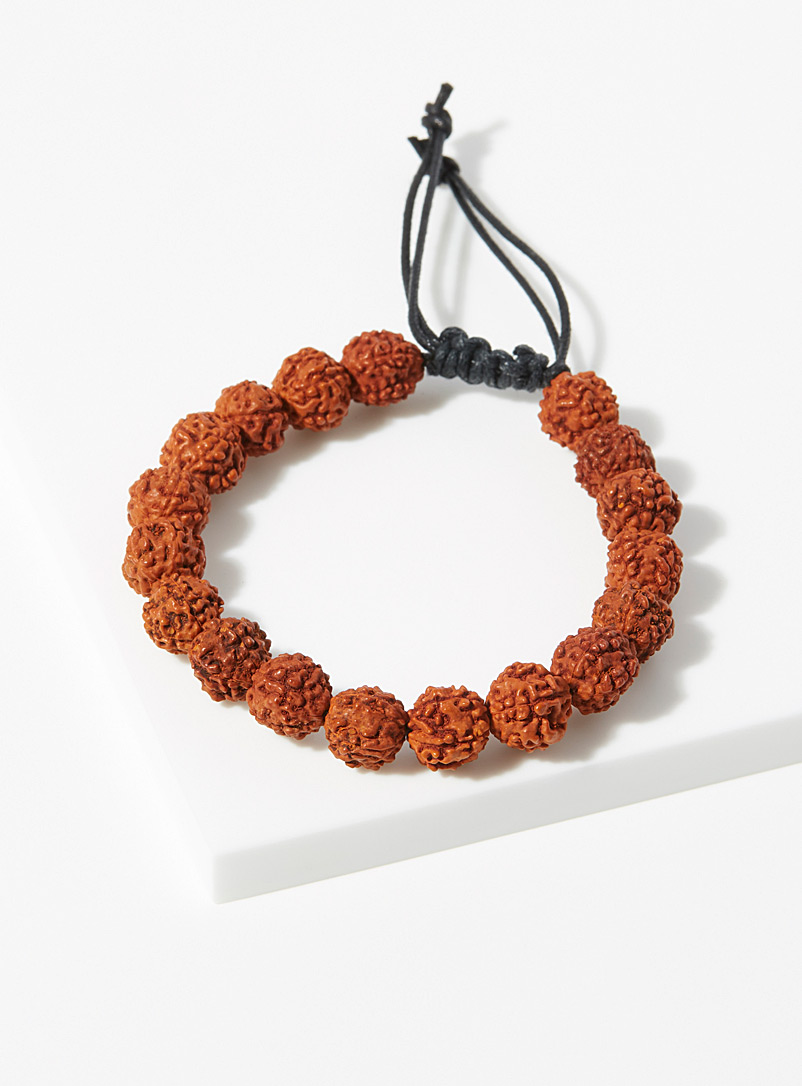 Le 31 Honey Textured bead bracelet for men
