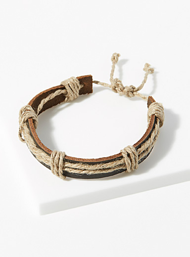 Leather and cord bracelet