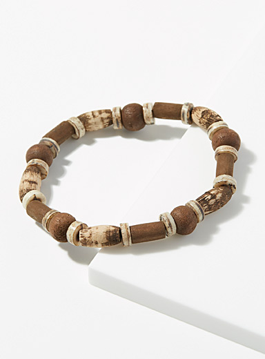 Faux-wood mixed bead bracelet