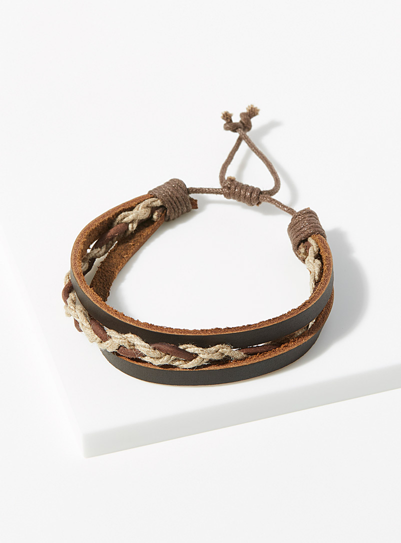 Le 31 Brown Natural material triple bracelet for men