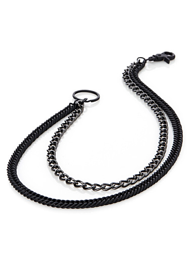 Shiny and matte metal wallet chain