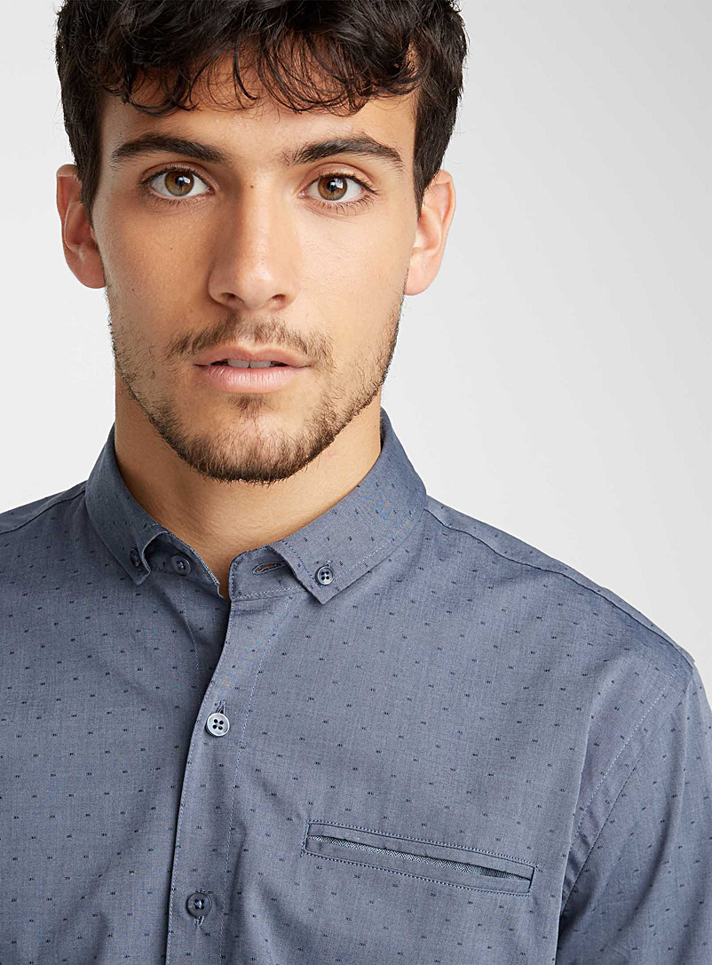 Pin dot jacquard shirt  Semi-tailored fit - Patterns - Dark Grey