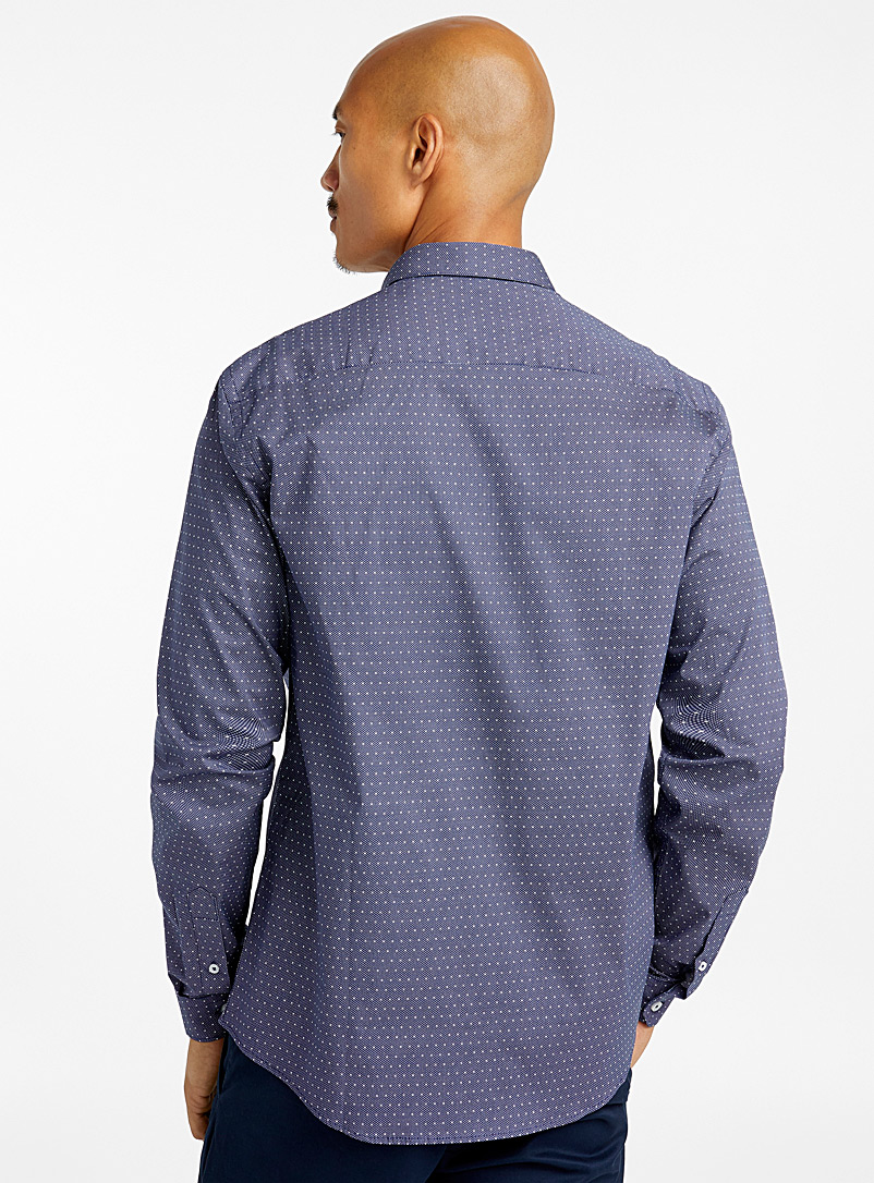 Le 31 Marine Blue Mixed dot shirt  Modern fit for men