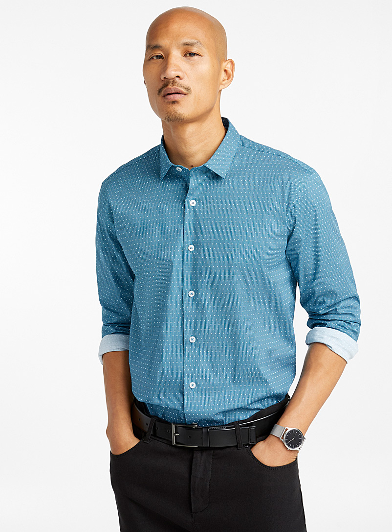 Le 31 Marine Blue Mixed dot shirt  Semi-tailored fit for men