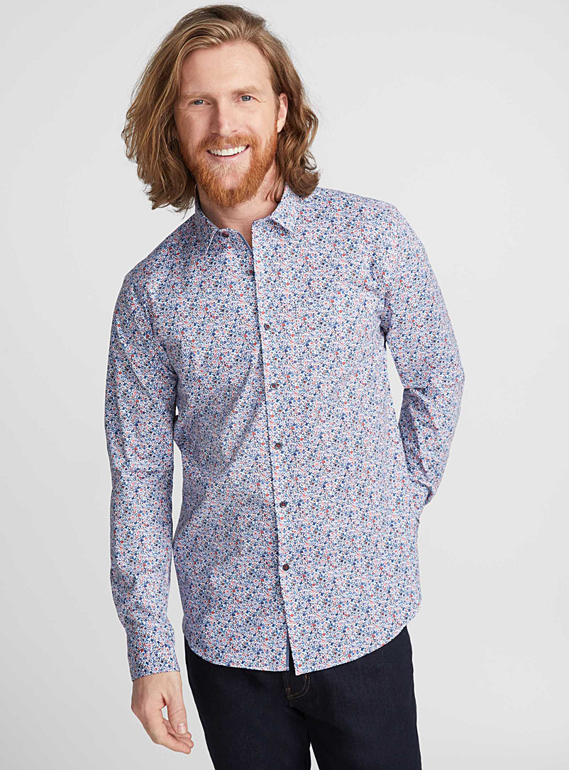 Abstract field shirt  Semi-tailored fit - Patterns - Patterned White