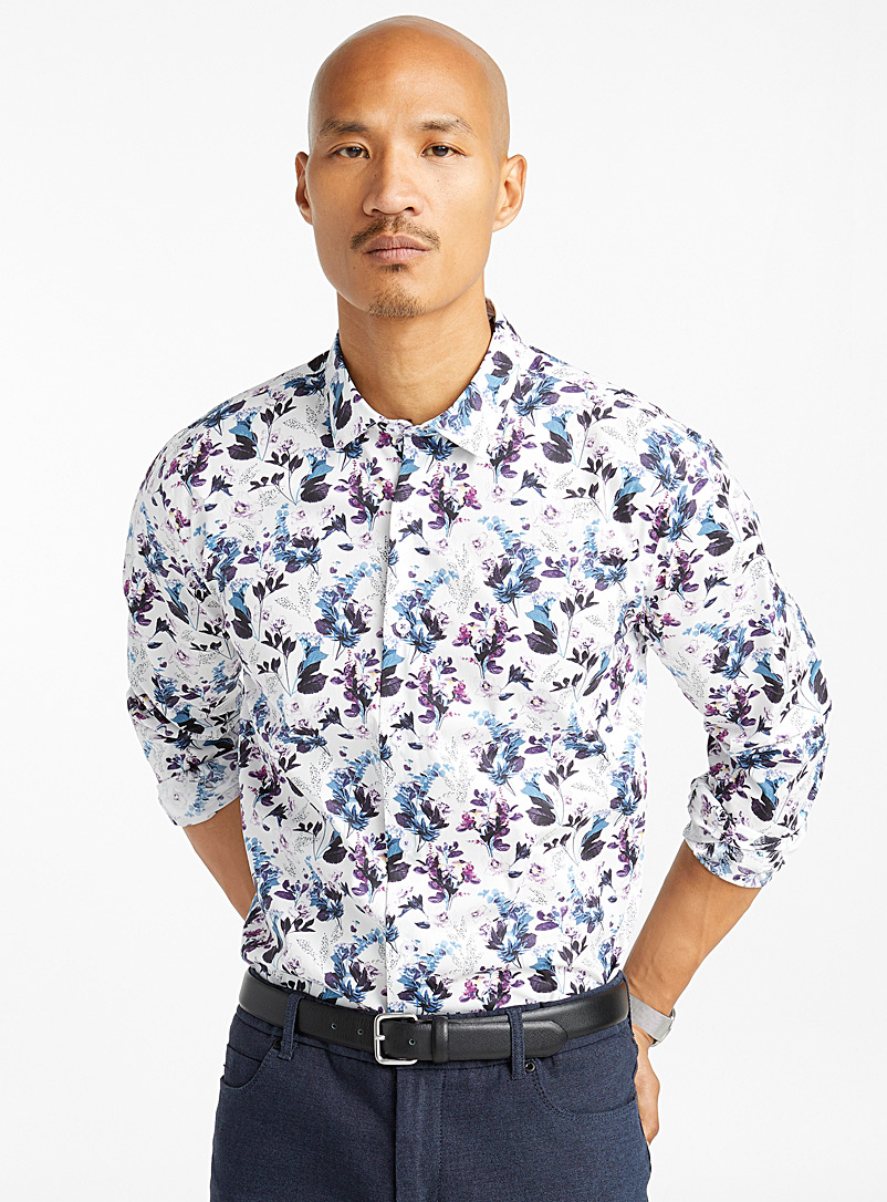 Aubergine flower shirt  Modern fit - Patterns - Patterned White