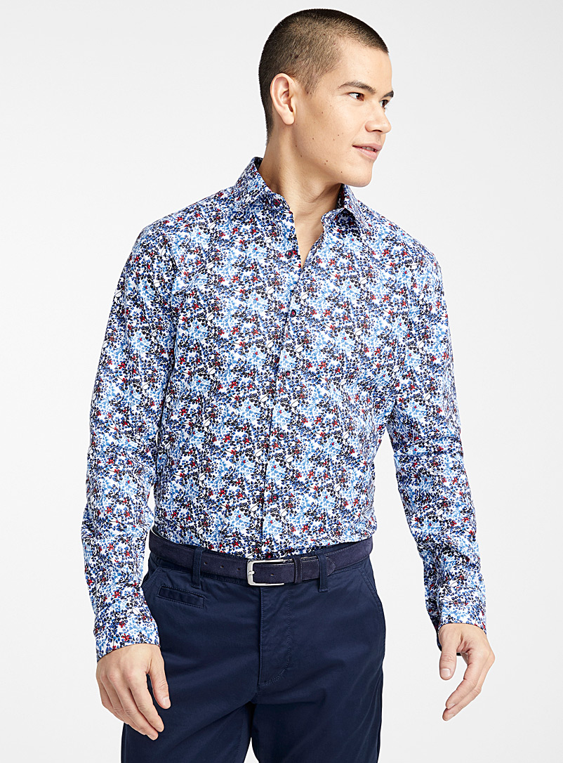 Le 31 White Floral pattern shirt  Modern fit for men