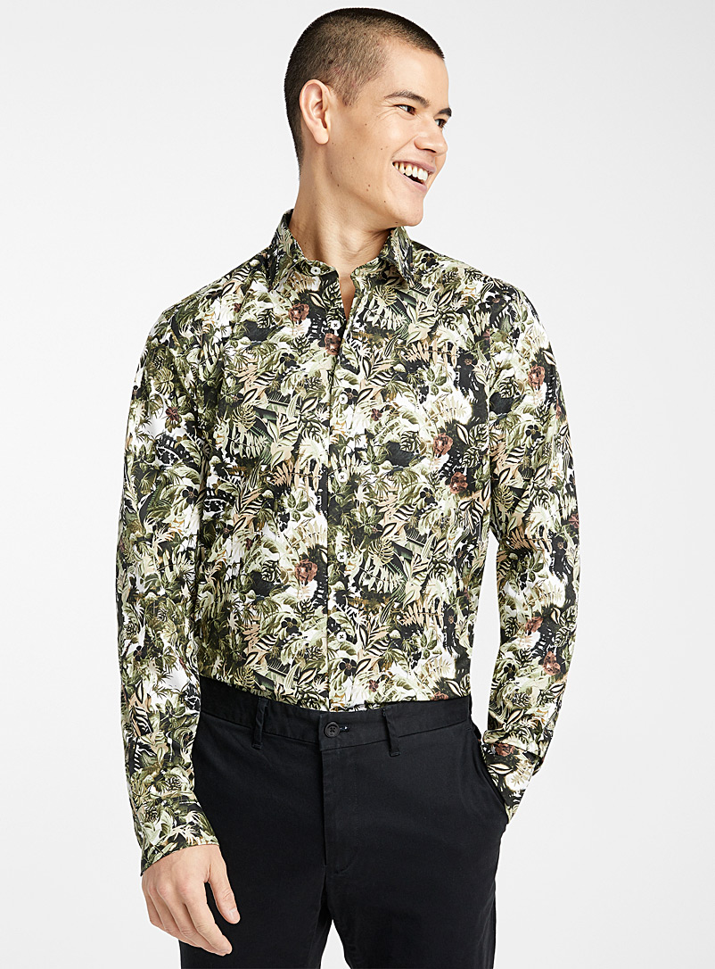 Le 31 Khaki Tropical forest shirt  Modern fit for men